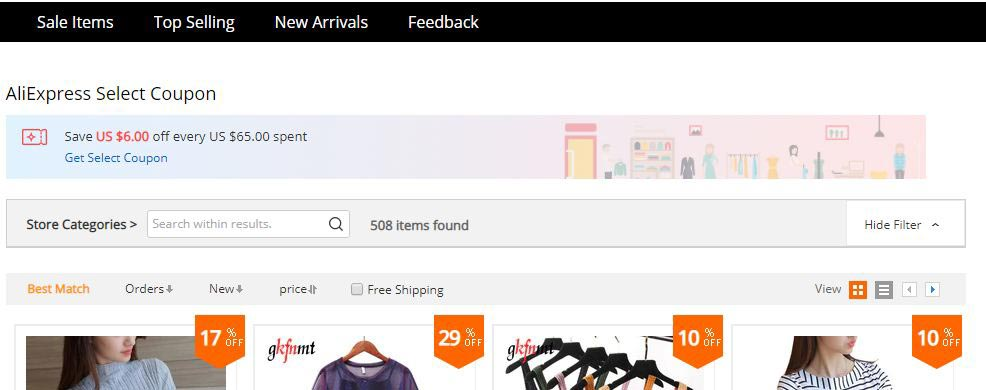 Aliexpress store have special coupons
